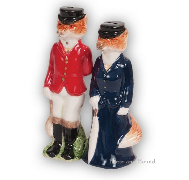 Clever Hand Painted Shakers Have Magnets On Base To Keep The Well Attired Fox