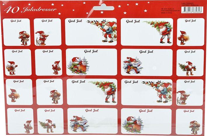 Juletiketter, , flera utföranden 40-pack, 3106967, juldekorationer, julpynt, vitt, rött, vit, röd, julklappsetiketter, jultomtar, juletiketter