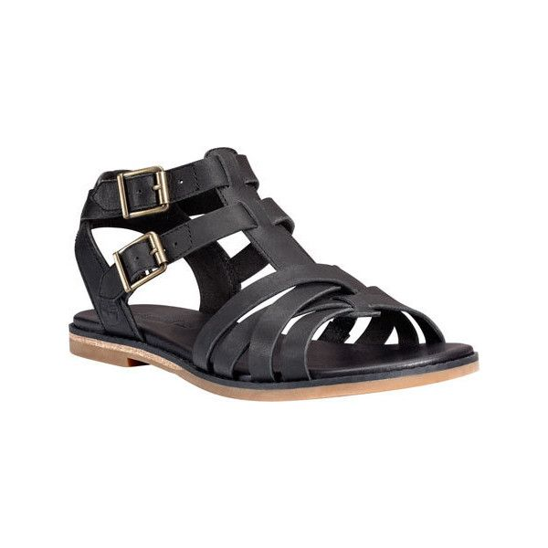 Women's Timberland Caswell Fisherman Sandal - Black Full Grain Leather... ($110) ❤ liked on Polyvore featuring shoes, sandals, black, black shoes, timberland sandals, t strap sandals, strap sandals and fisherman sandals