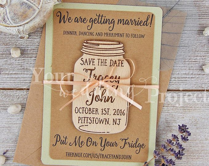 Save The Date Magnet Mason Jar Save The Date Wood Save The Dates