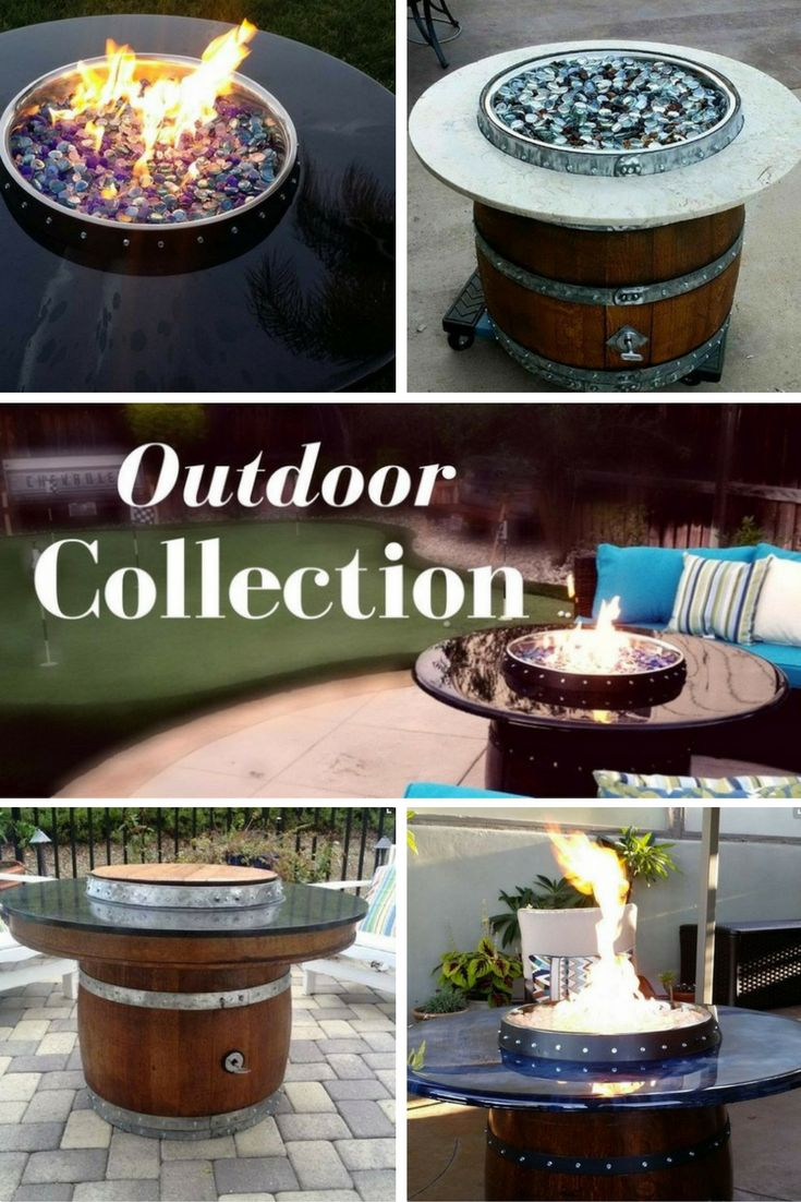 The 15 best wine barrel fire pits images on pinterest drink 9 beautiful wine barrel fire pits table tops with hidden propane tank fandeluxe Images
