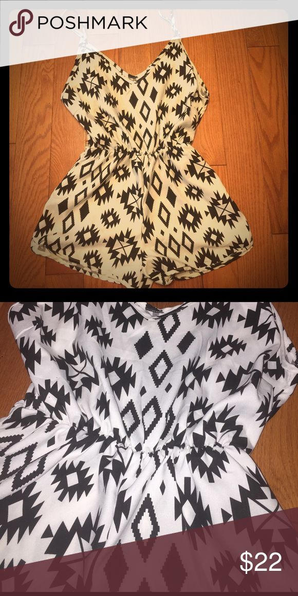 Eunice Lai Aztec print romper Black and white Aztec print shorts romper. Perfect for the summer! eunice lai Shorts