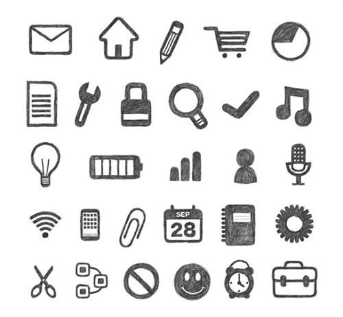 Free-Hand-Traced-Icon-Set.png (500×462)