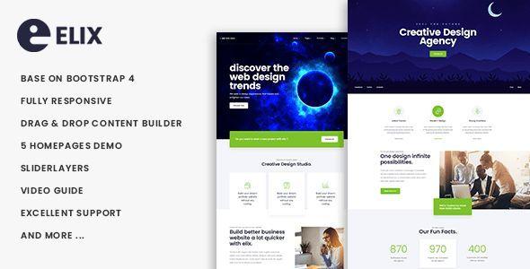Elix Responsive Multipurpose Business Drupal 8 7 Theme Elix Theme Is Modern Wordpress Business Themes Idea Drupal Creative Design Agency Web Design Trends