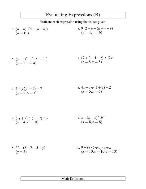 Algebra Worksheet Evaluating Five Step Algebraic Expressions With