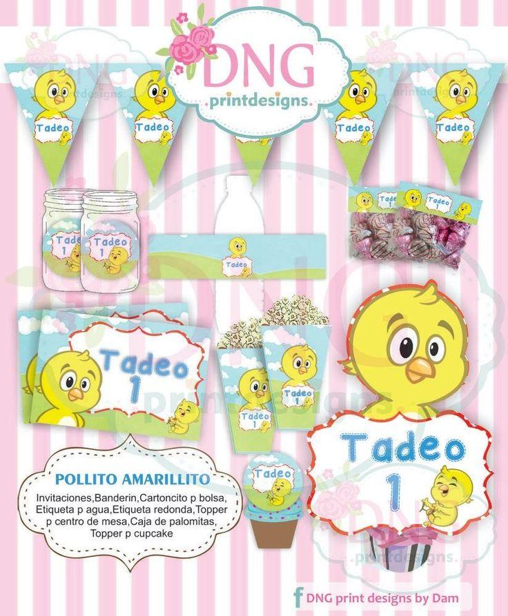 $100 Kit Imprimible Pollito Amarillito Gallina Pintadita