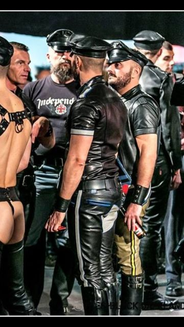 story Erotic leather wearing man