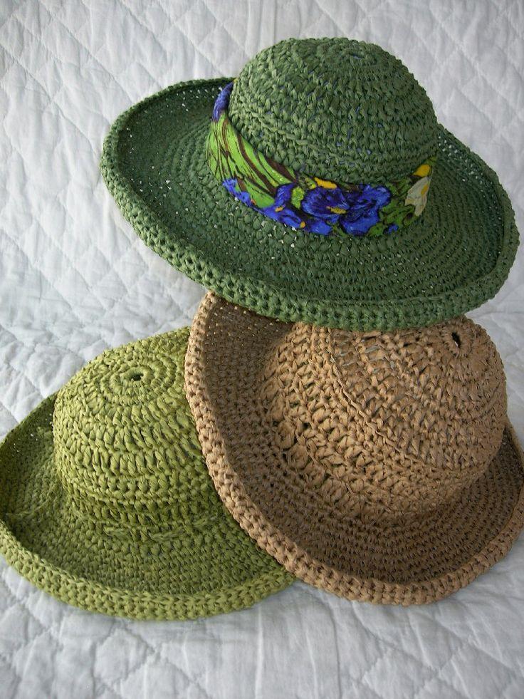 Crochet Raffia Cowboy Hat Pattern : 1058 best images about Crochet-Heads/Hats on Pinterest ...