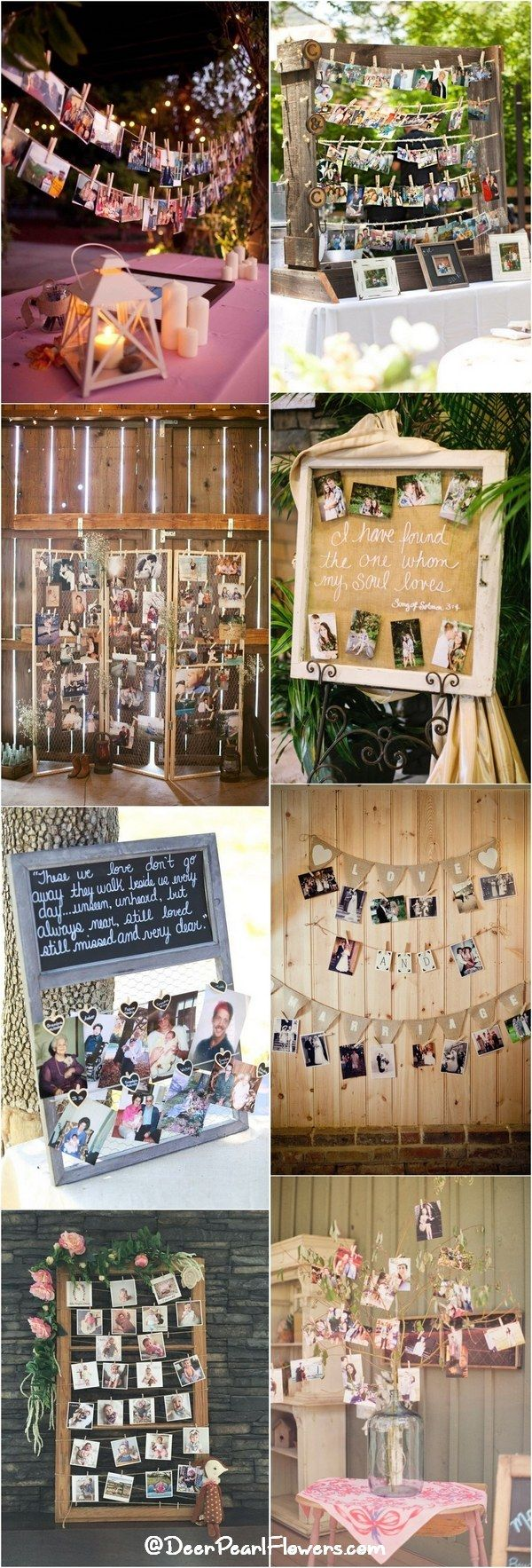 Rustic country wedding photo display ideas / http://www.deerpearlflowers.com/wedding-photo-display-ideas/