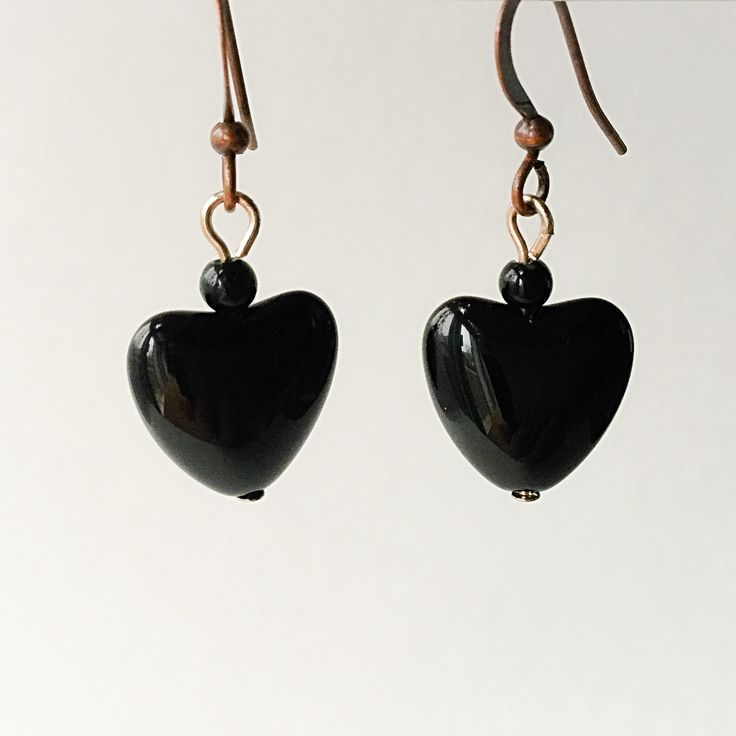 Black Stone Heart Earrings by VexedUpBoutique on Etsy