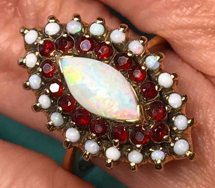"""10K Yellow Gold Natural Marquis Opal & Ruby Halo Ring. Art Deco. Large 1""""--153  
