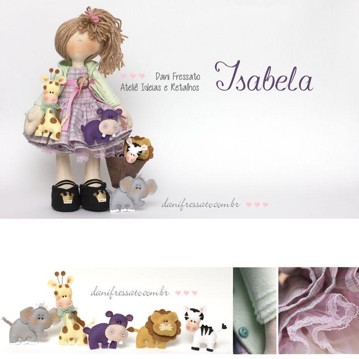 Boneca Artesanal de Tecido e Bichinhos de Feltro
