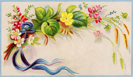 "An old Victorian calling card with a colourful bouquet of summer wildflowers. High-resolution 1.75"" x 3"" @300ppi JPEG is free to download for personal and small business use at Vintage Field & Garden.:"