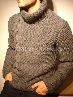 Теплый свитер | Вязание мужское | Вязание спицами и крючком. Схемы вязания.