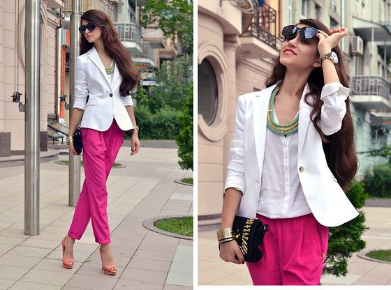 Look of the day: White and Fuchsia (by Tina Sizonova) http://lookbook.nu/look/3658721-Look-of-the-day-White-and-Fuchsia
