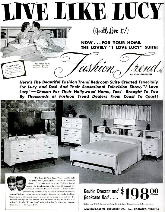 """""""I Love Lucy"""" Bedroom Suite — 1953 (Lucille Ball & Desi Arnaz) Purchase the bedroom suite created especially for Lucy and Desi's TV show and home!"""