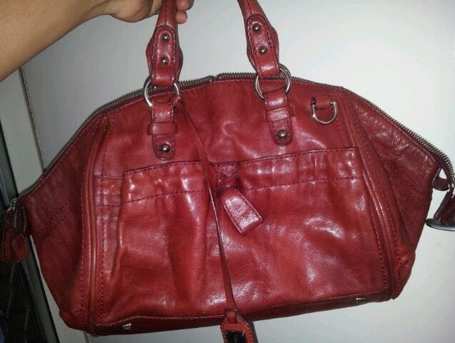 DISSONA ITALY italian maroon deep red genuine leather handbag ladies women bag