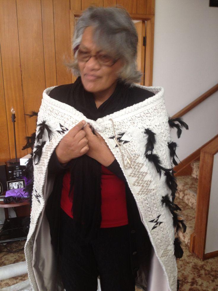 Korowai weaver my niece Te Hemoata Henare