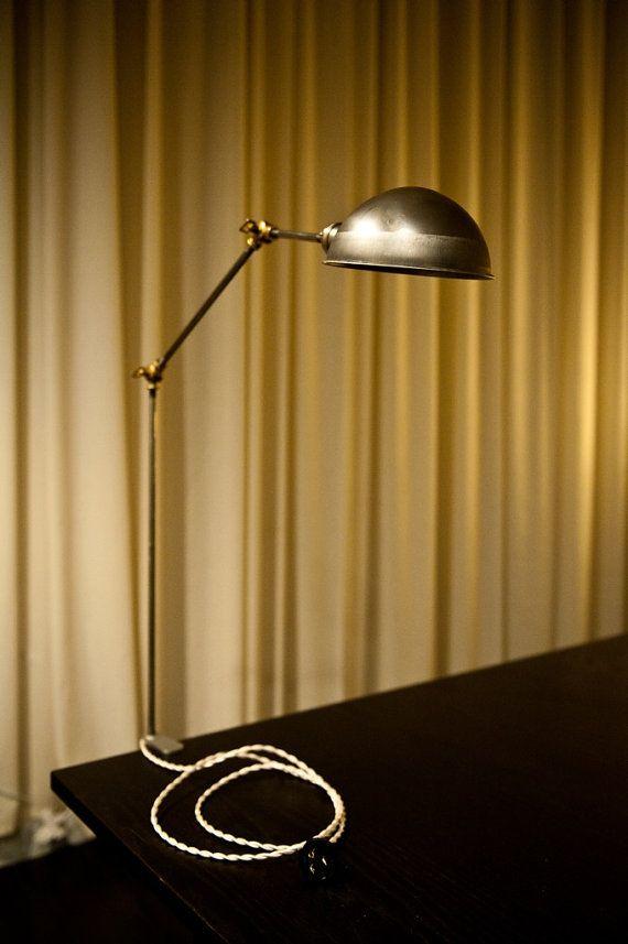 trick clamp on steel and brass articulating desk lamp work light. Black Bedroom Furniture Sets. Home Design Ideas
