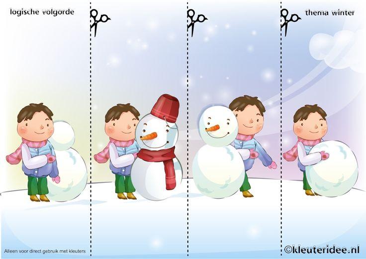 Leg de plaatjes van de sneeuw in logische volgorde , juf Petra van kleuteridee, thema winter voor kleuters, Snowman sequence free printable.