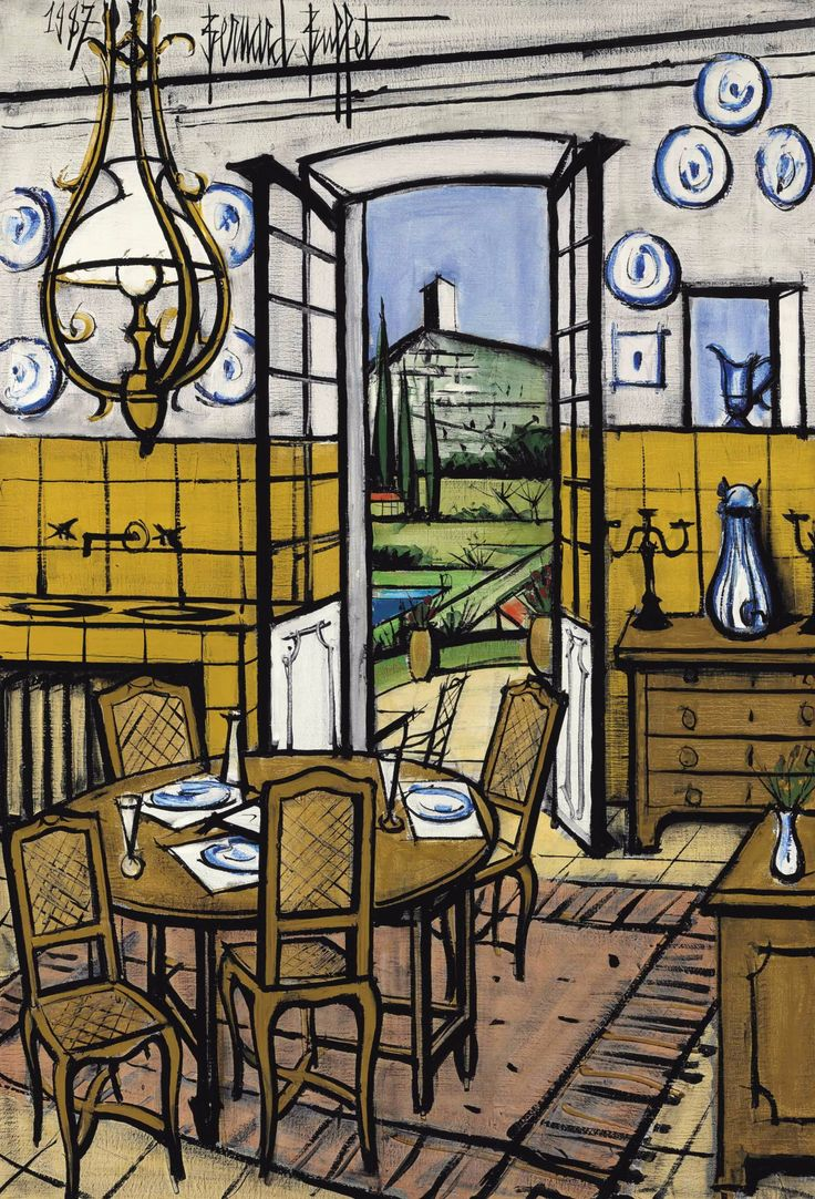 Bernard Buffet (1928-1999) La Baume, la salle à manger (1987)oil on canvas130.5 x 88.9 cm
