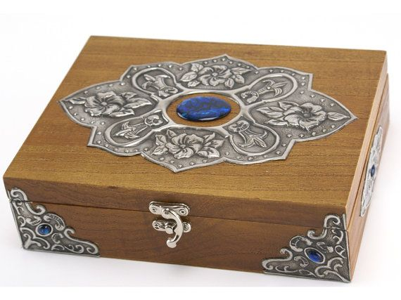 Wooden tea box Pewter floral motif cabochon insets by Loutul
