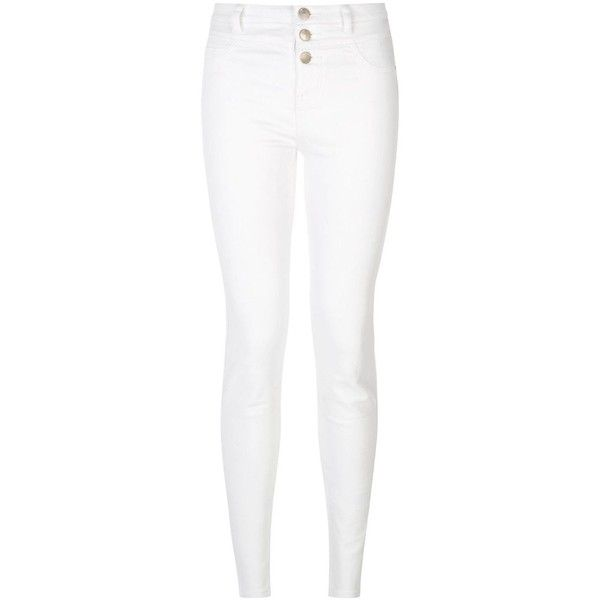 New Look White High Waist Super Skinny Jeans ($33) ❤ liked on Polyvore featuring jeans, pants, bottoms, denim, pants/leggings, white, white denim skinny jeans, white jeans, high-waisted jeans and high rise skinny jeans