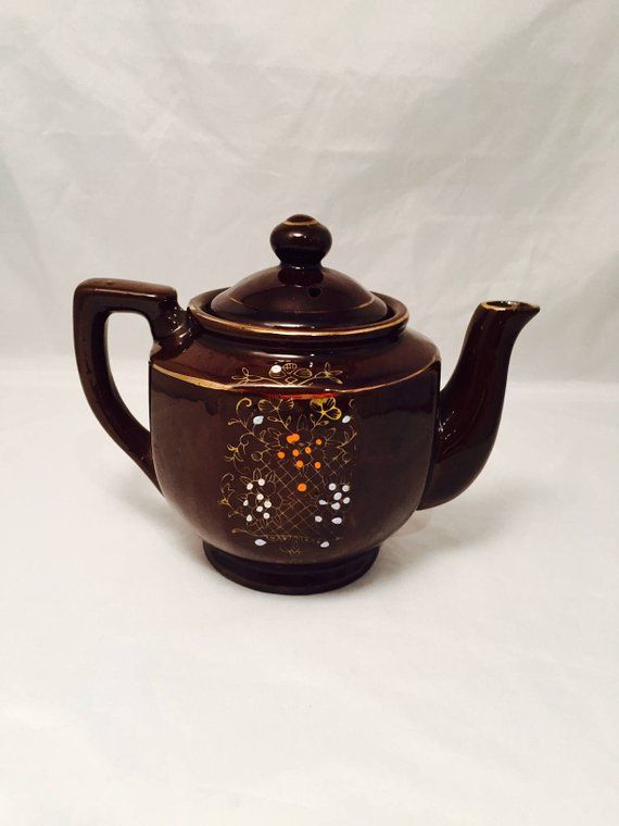 Teapot Dark Brown Ceramic Hand Painted Floral Design Vintage Made In Japan Tea Pots Holiday Shopping Spot Ceramic Teapots