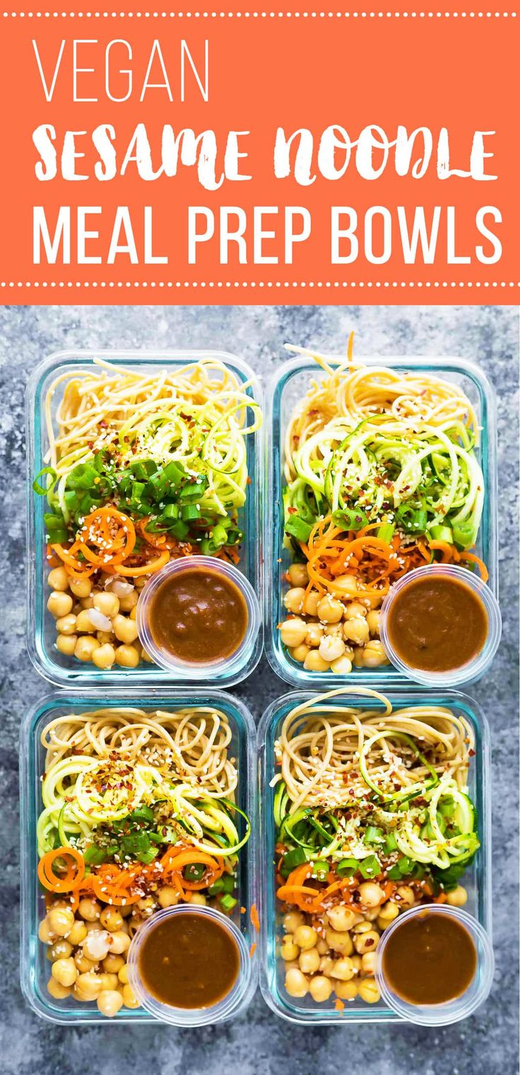 These cold sesame noodle meal prep bowls are the perfect vegan prep ahead lunch: spiralized vegetables tossed with chickpeas and whole wheat spaghetti in a spicy almond butter sauce.#sweetpeasandsaffron