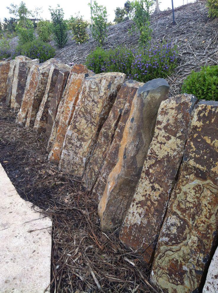 Stone retaining wall. Australian Garden, Cranbourne.