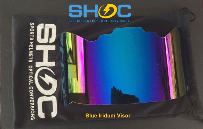 The SHOC Visor in Blue Iridium. The First Sports Helmet Visor made to fit BOTH Lacrosse and Football Helmets. Will fit Cascade, STX, Riddell, SCHUTT, RAWLINGS Helmets. Get your SHOC Visor today at www.SHOCVisor.com