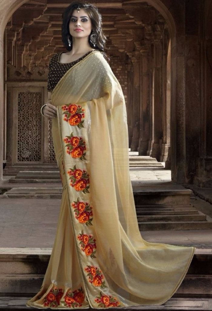 Cream Designer Rajsthani Resham Saree@ fashionsbyindia.com #designs #indian #fashion #womens #style #cloths #fashion #stylish #casual #fashionsbyindia #punjabi #suits #saree #wedding