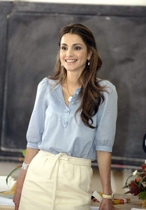 Queen Rania of Jordan - Powder blue blouse with cream skirt