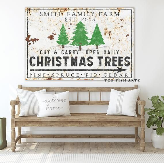 Christmas Tree Farm Sign Personalized Farmhouse Wall Decor Etsy Christmas Wall Decor Christmas Tree Sale Christmas Tree Farm