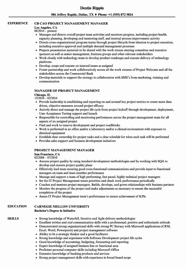 Project Manager Resume Pdf Fresh Project Management
