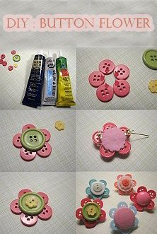 Flower pin made from buttons. I think it would be cute if it was a little girls…