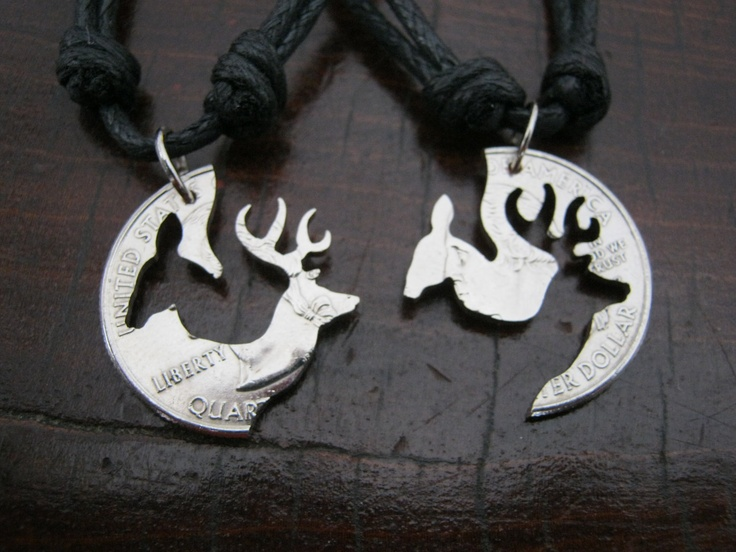 Buck and Doe Quarter Necklace, cut coin jewelry, Browning, Deer, Puzzle, interlocking, Engaged Couples. $35.99, via Etsy.