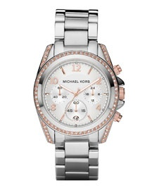 Michael Kors silver watch with rose gold accent