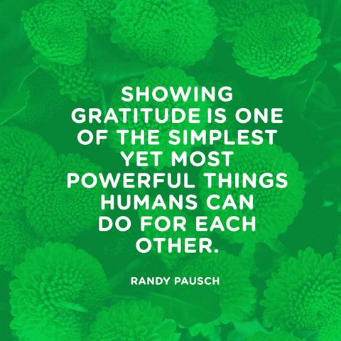 """Showing gratitude is one of the simplest yet most powerful things humans can do for each other."" — Randy Pausch"