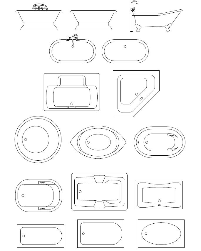 bathroom templates | ... foot tubs, spa bath tubs CAD symbols, and CAD blocks of bath tubs