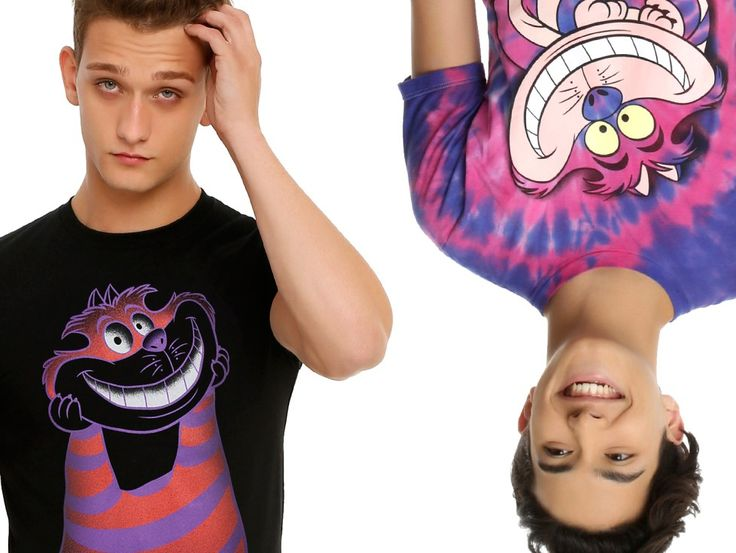 Two Handsome Male Models Wearing Alice in Wonderland T-Shirts from Hot Topic