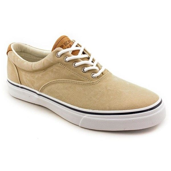 Sperry Top Sider Men's 'Striper CVO Salt-Washed Twill' Canvas Casual... (195 BRL) ❤ liked on Polyvore featuring men's fashion, men's shoes, brown, mens deck shoes, mens brown loafers, mens shoes, mens brown shoes and mens boat shoes