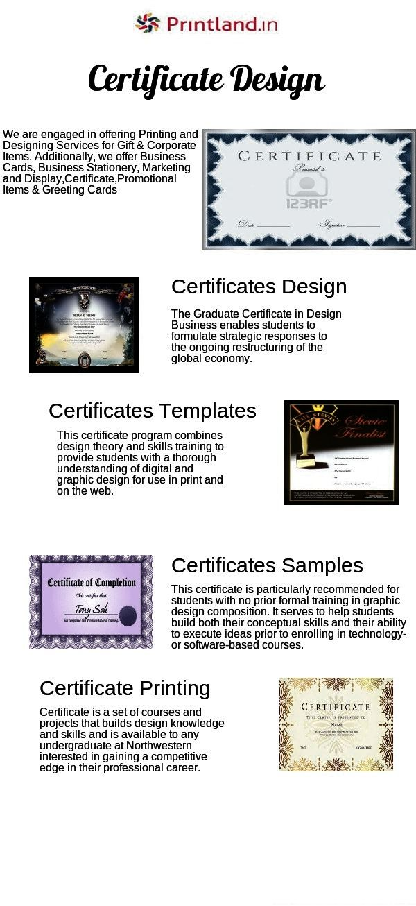 http://www.printland.in/business/certificates-printing PrintLand.in – Customized Corporate Certificate Printing India by best online certificate maker. Browse free printable business certificates samples to choose the best template size for the company.