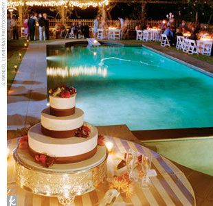 Outdoor Evening Wedding Reception Poolside   Google Search