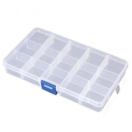 Condition:New Color:Clear Material:Plastic Style:15  Size::15 Grid: app 17.3 X 10 X 2.2cm(LxWxH) Weight:15 Grid: app 65g Package include:1 X Jewelry box 1:The Grid inside the box can be moved  2:Also ...