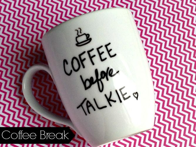 DIY Hand Painted Coffee Mug - So this quote says it all...well at least when it comes to me ;) Cute idea for office Christmas gifts. Fun way to match your co-workers personality to their morning cup of Joe!
