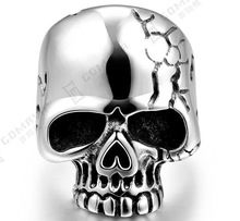 High Quality Men Boys Silver Biker Rings Big Tripple Skull Ring Punk Biker Jewelry Fashion Ring Stainless Steel Rings For Man(China (Mainland))