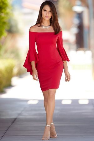 Get it first! Pre-order to reserve this style today. Your card will not be charged until your item shipsLet the shoulder show begin in this sexy dress that's seamed for shaping with dramatic angled bell sleeves.Metallic ankle strap heels and polished acce