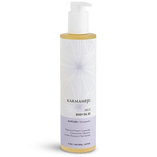 Karmameju Krops olie - Mild 02. Skånsom pleje af sart, tør og irriteret hud.