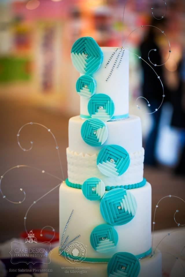 teal and white modern wedding cake